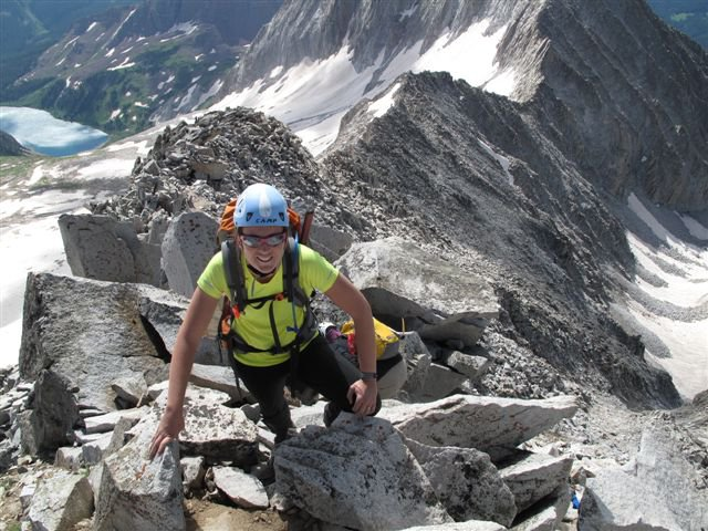 Nearing the summit of Snowmass Mountain, July 2011.