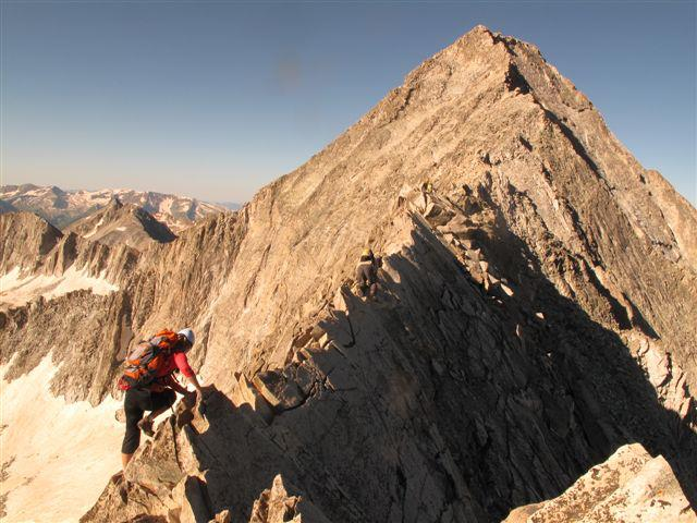 "Crossing the ""Knife Edge"" on Capitol Peak, a Colorado 14'er, August 2011."