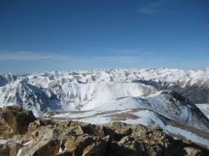 The view of the Elks from the summit of Mt. Belford, January 14, 2012.