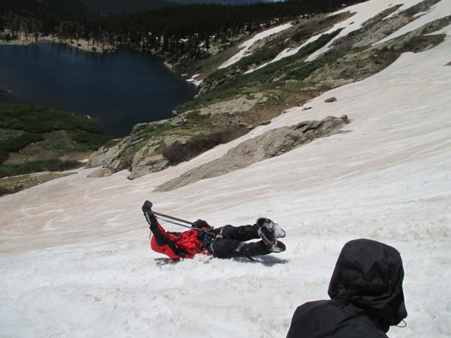 Zach practicing self-arrest recently on St. Mary's Glacier