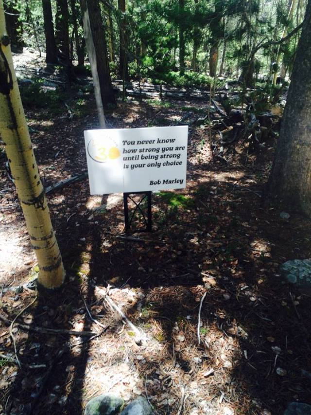 One of many encouraging messages on the course. (photo credit to my friend, Molly)