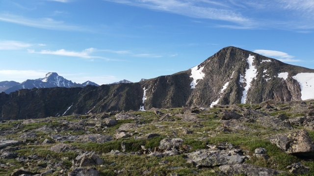 My first ascent of Flattop Mountain. Looking south along the Continental Divide, Hallett Peak is in the front, right; Longs Peak in the back, left.