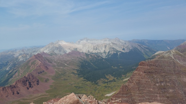 From the summit of North Maroon (Maroon Bells), Snowmass Mountain (left) and Capitol Peak (right), Elks