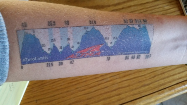 My temporary tattoo of the course profile. I wanted to quit by the backside of that first big climb.