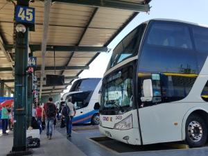 The infamous bus platform in Santiago