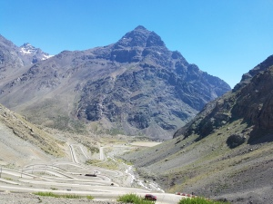The road from Santiago to Mendoza. Those are switchbacks! Truly.an alpine drive.
