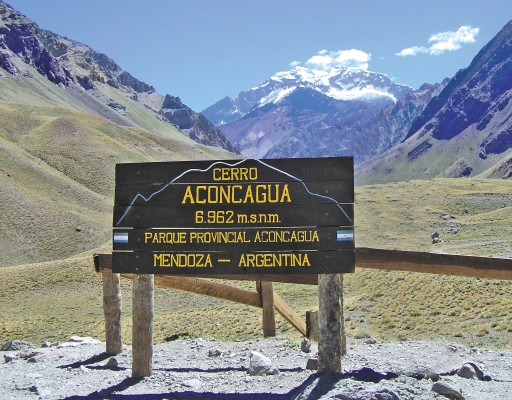 The trailhead view of Mt. Aconcagua. From here, Aconcagua is about 25 miles and 15,000 vertical feet away.